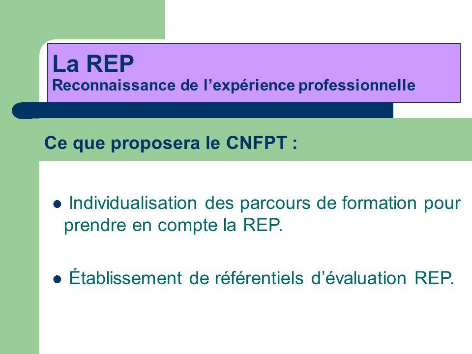 Ce que proposera le CNFPT : La REP Reconnaissance de lexpérience professionnelle Individualisation des parcours de formation pour prendre en compte la