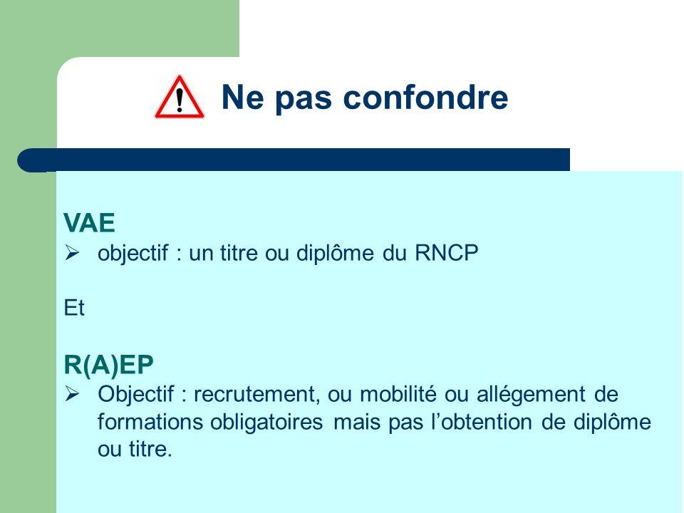 Ne pas confondre VAE objectif : un titre ou diplôme du RNCP Et R(A)EP Objectif : recrutement, ou mobilité ou allégement de formations obligatoires mai