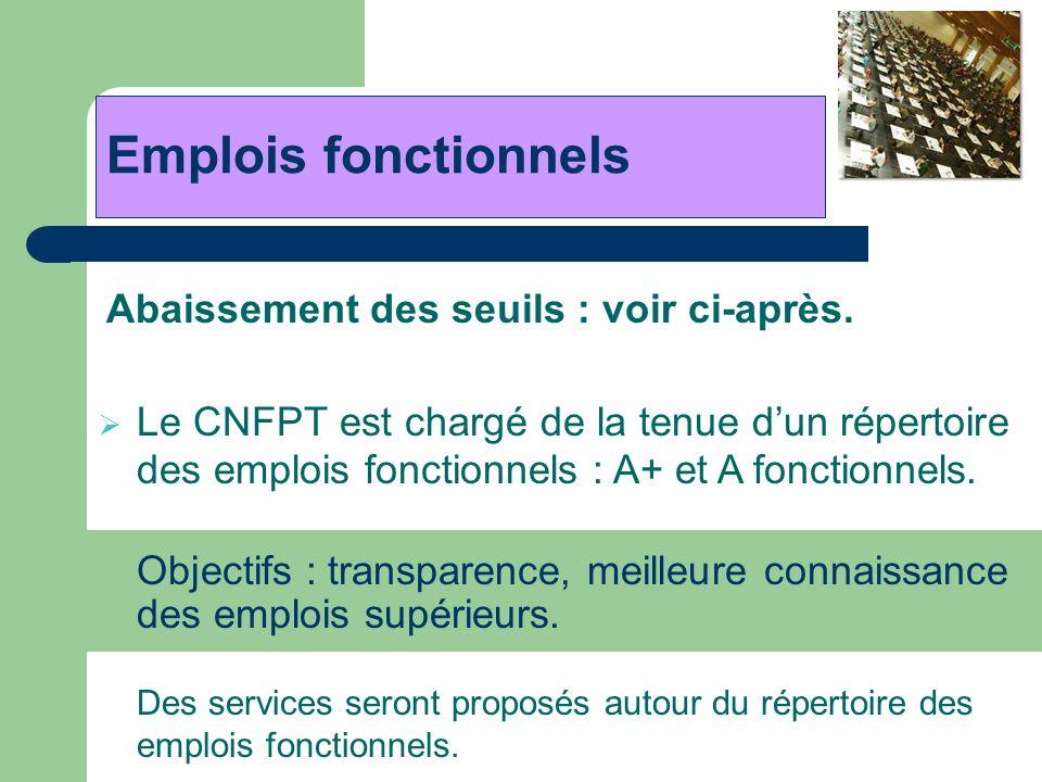 Emplois fonctionnels Abaissement des seuils : voir ci-après. Objectifs : transparence, meilleure connaissance des emplois supérieurs. Le CNFPT est cha