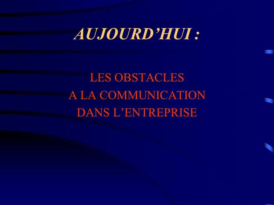 AUJOURDHUI : LES OBSTACLES A LA COMMUNICATION DANS LENTREPRISE