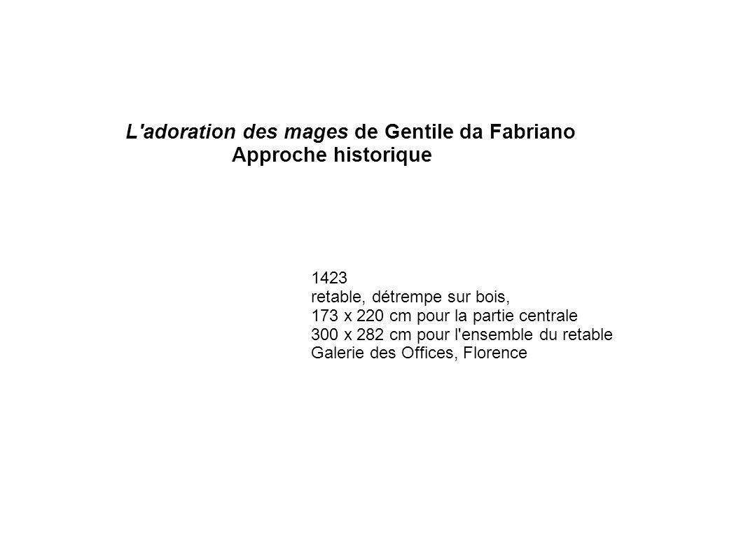 L'adoration des mages de Gentile da Fabriano Approche historique 1423 retable, détrempe sur bois, 173 x 220 cm pour la partie centrale 300 x 282 cm po