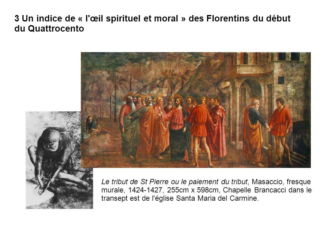 Le tribut de St Pierre ou le paiement du tribut, Masaccio, fresque murale, 1424-1427, 255cm x 598cm, Chapelle Brancacci dans le transept est de l'égli