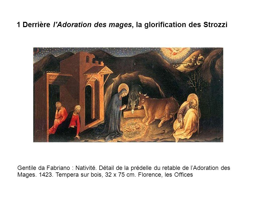 Gentile da Fabriano : Nativité. Détail de la prédelle du retable de lAdoration des Mages. 1423. Tempera sur bois, 32 x 75 cm. Florence, les Offices