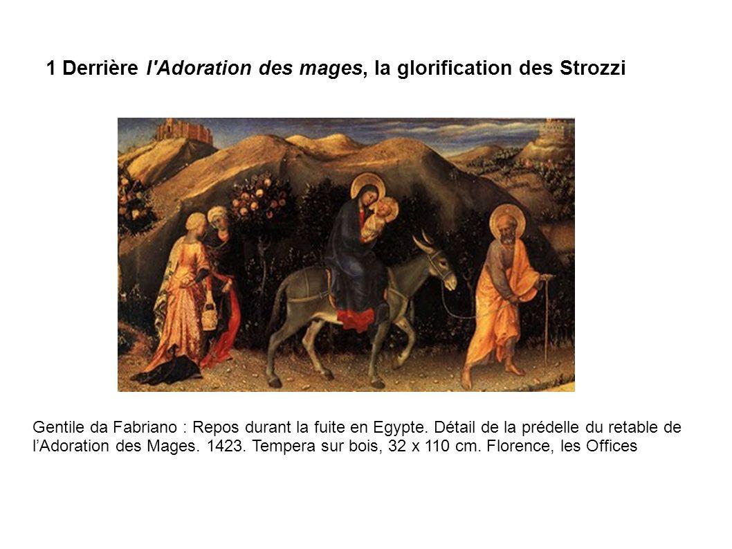 Gentile da Fabriano : Repos durant la fuite en Egypte. Détail de la prédelle du retable de lAdoration des Mages. 1423. Tempera sur bois, 32 x 110 cm.