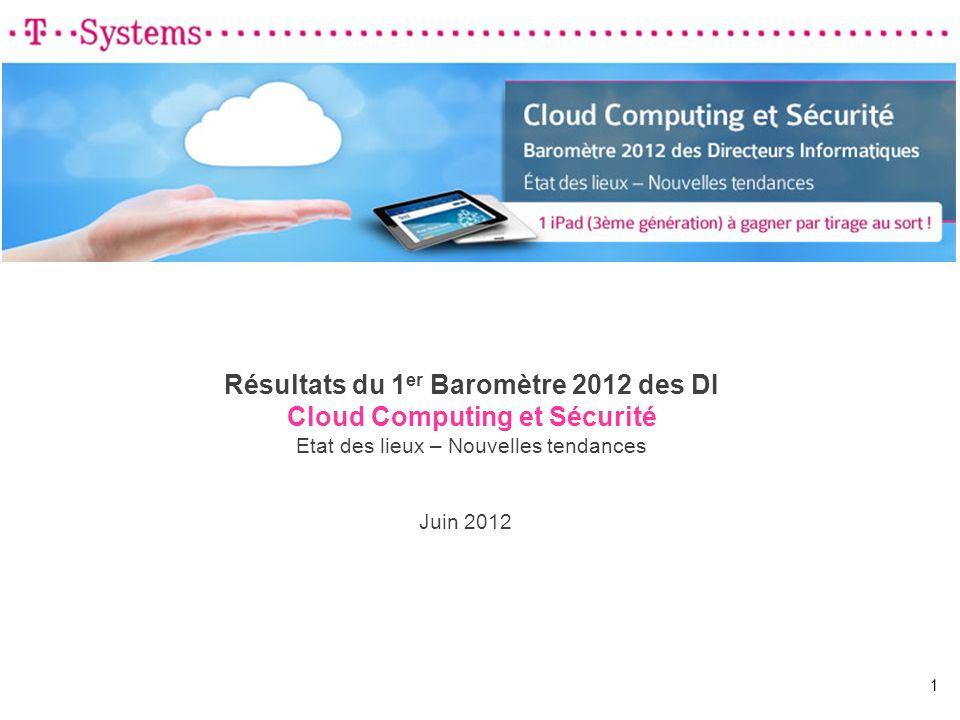 Résultats du 1 er Baromètre 2012 des DI Cloud Computing et Sécurité Etat des lieux – Nouvelles tendances Juin 2012 1