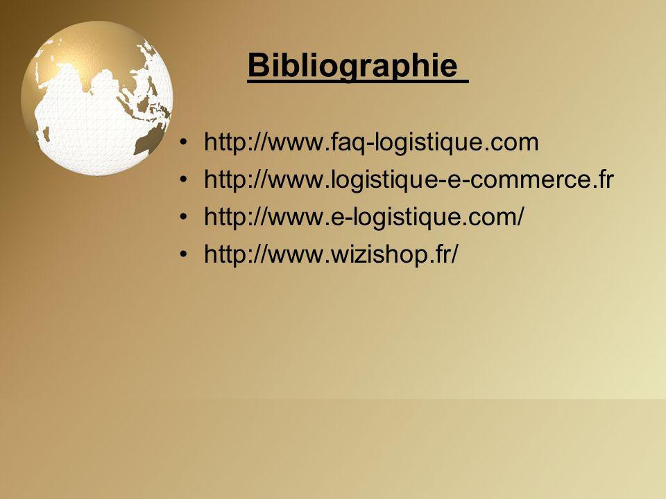 Bibliographie http://www.faq-logistique.com http://www.logistique-e-commerce.fr http://www.e-logistique.com/ http://www.wizishop.fr/