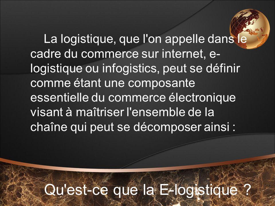 Qu'est-ce que la E-logistique ? La logistique, que l'on appelle dans le cadre du commerce sur internet, e- logistique ou infogistics, peut se définir