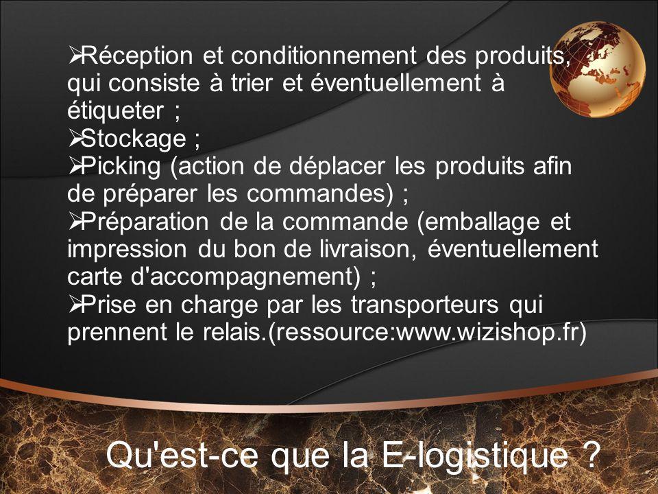 Qu'est-ce que la E-logistique ? Réception et conditionnement des produits, qui consiste à trier et éventuellement à étiqueter ; Stockage ; Picking (ac