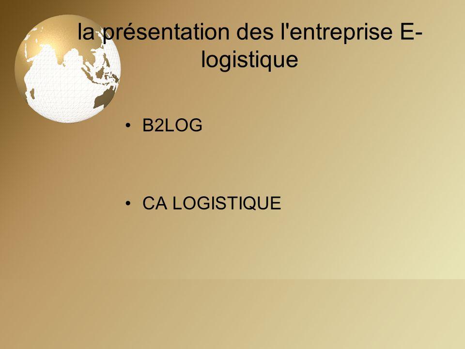 la présentation des l'entreprise E- logistique B2LOG CA LOGISTIQUE