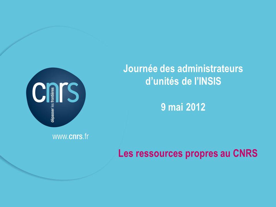 P. 1 Journée des administrateurs dunités de lINSIS 9 mai 2012 Les ressources propres au CNRS