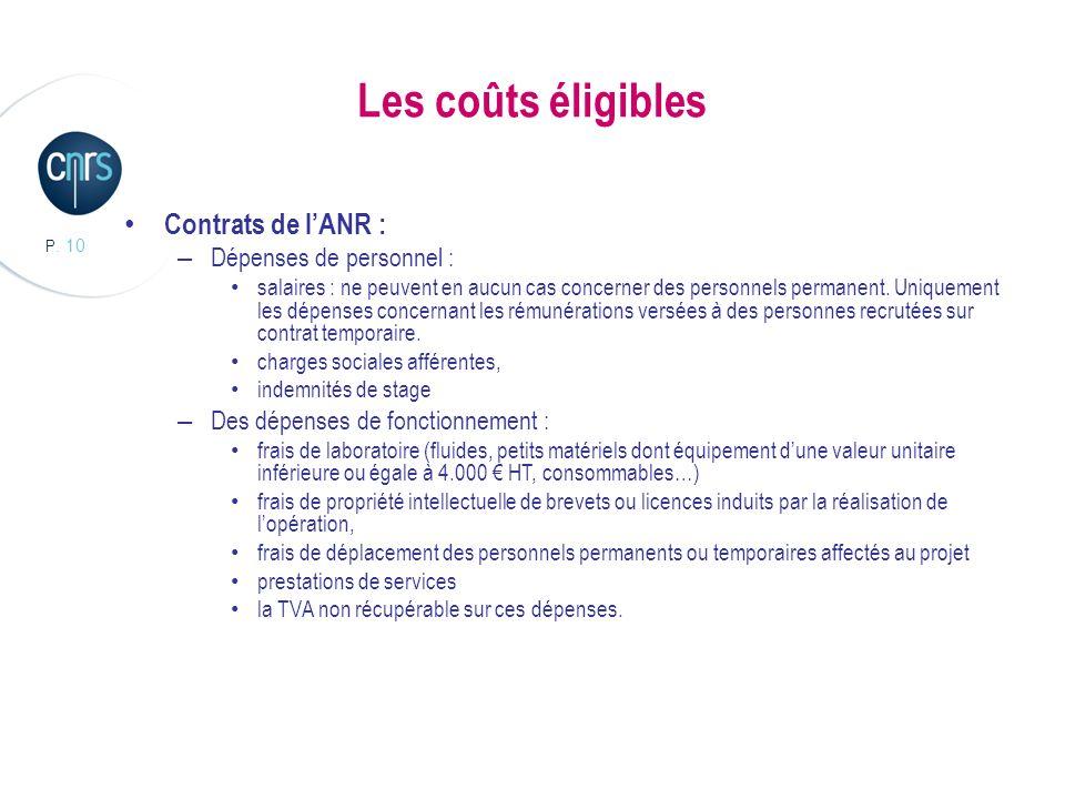 P. 10 Les coûts éligibles Contrats de lANR : – Dépenses de personnel : salaires : ne peuvent en aucun cas concerner des personnels permanent. Uniqueme