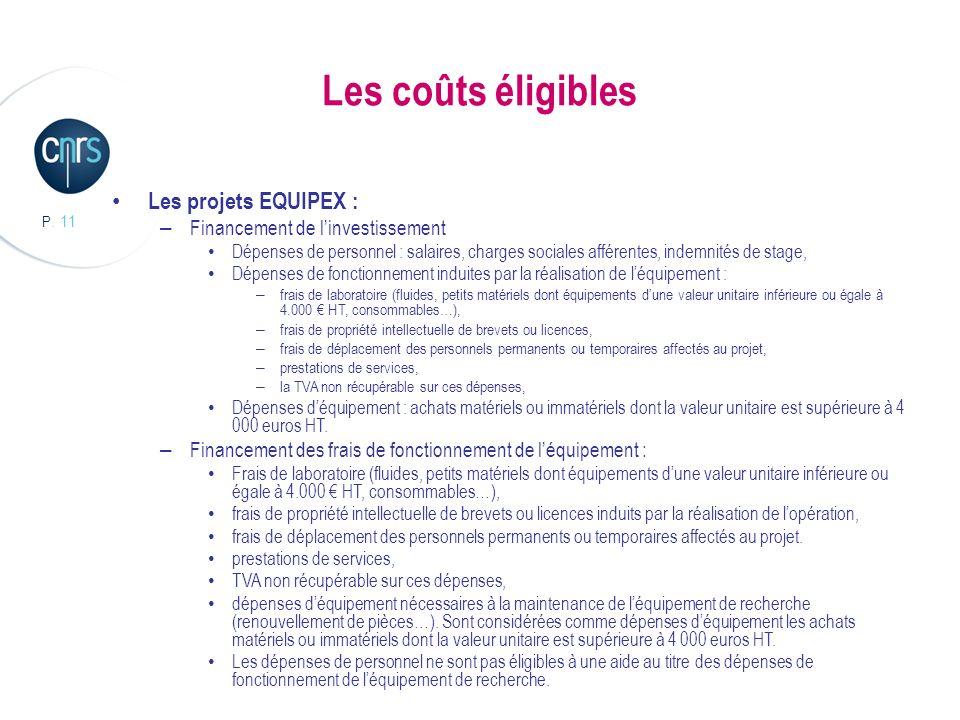 P. 11 Les coûts éligibles Les projets EQUIPEX : – Financement de linvestissement Dépenses de personnel : salaires, charges sociales afférentes, indemn