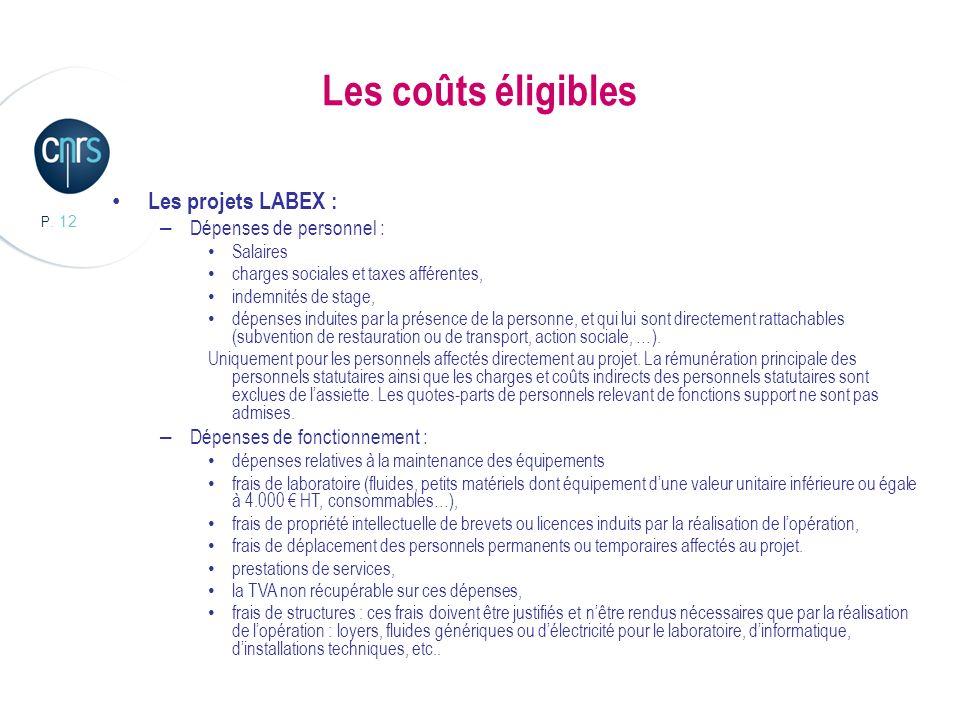 P. 12 Les coûts éligibles Les projets LABEX : – Dépenses de personnel : Salaires charges sociales et taxes afférentes, indemnités de stage, dépenses i