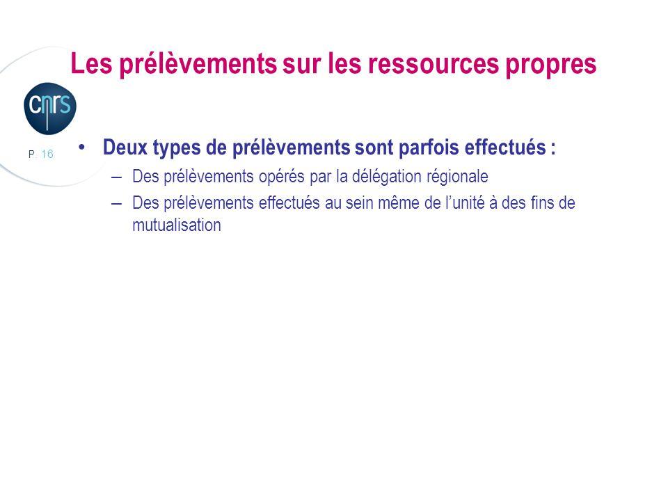 P. 16 Les prélèvements sur les ressources propres Deux types de prélèvements sont parfois effectués : – Des prélèvements opérés par la délégation régi