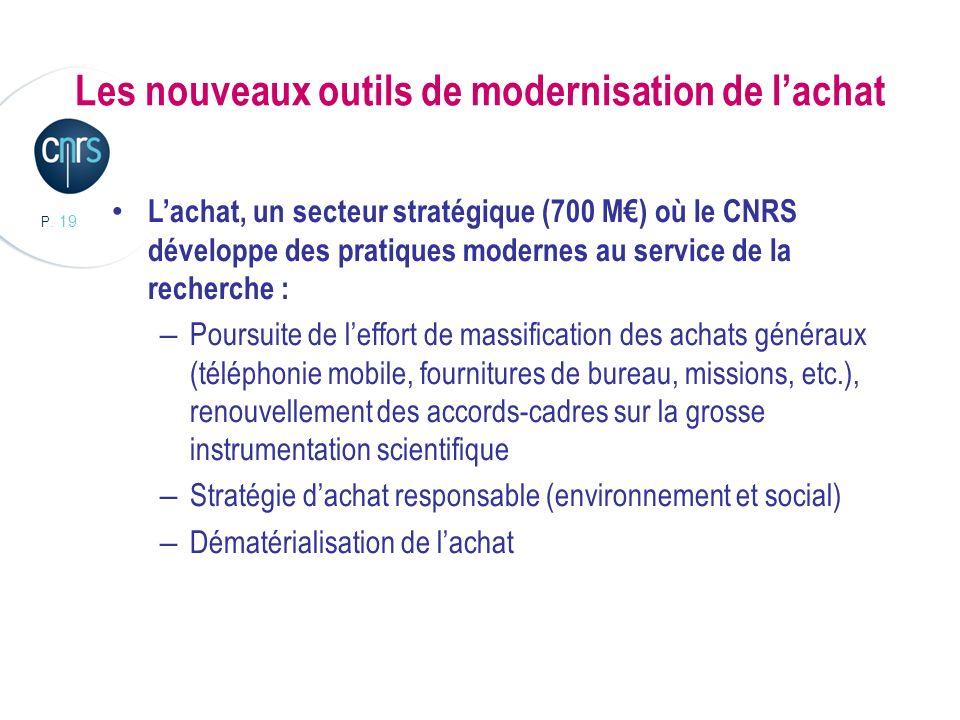 P. 19 Les nouveaux outils de modernisation de lachat Lachat, un secteur stratégique (700 M) où le CNRS développe des pratiques modernes au service de