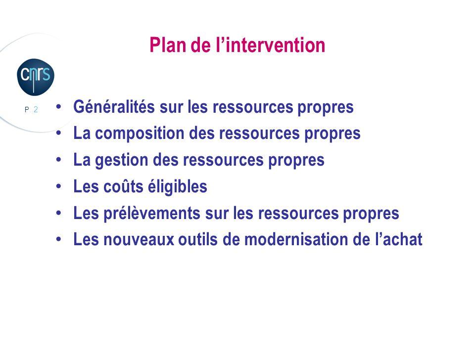 P. 2 Plan de lintervention Généralités sur les ressources propres La composition des ressources propres La gestion des ressources propres Les coûts él