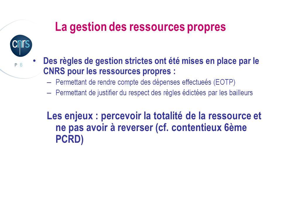 P. 8 La gestion des ressources propres Des règles de gestion strictes ont été mises en place par le CNRS pour les ressources propres : – Permettant de