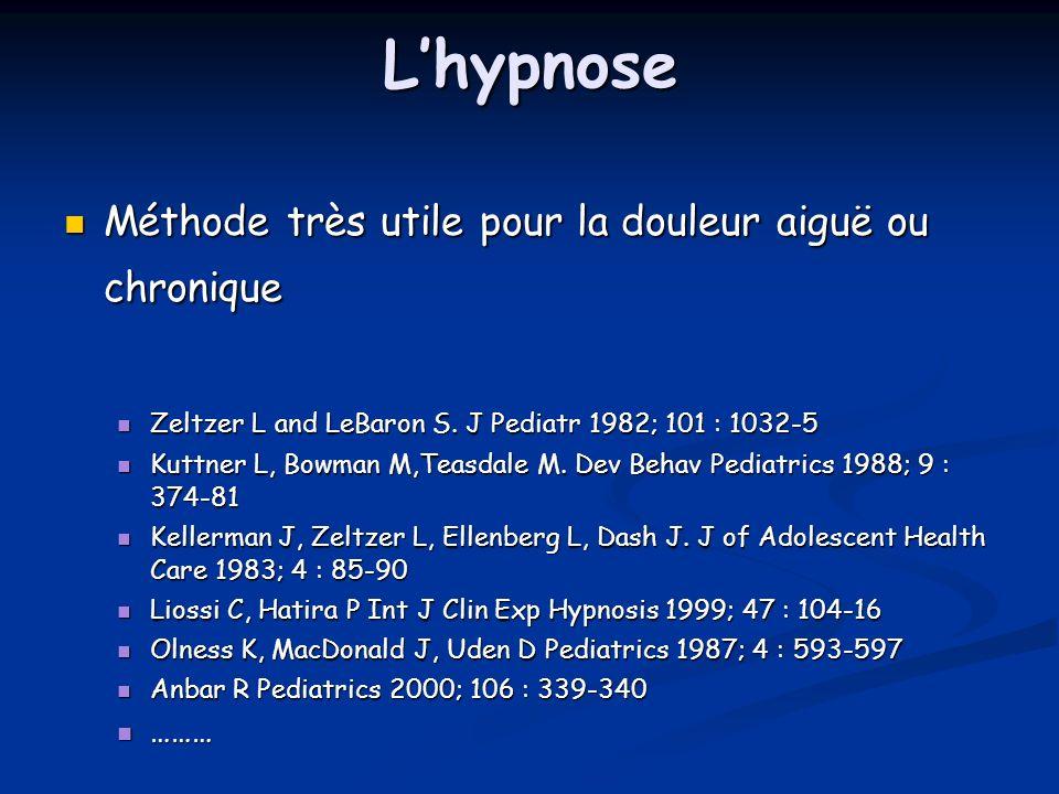 Lhypnose Méthode très utile pour la douleur aiguë ou chronique Méthode très utile pour la douleur aiguë ou chronique Zeltzer L and LeBaron S. J Pediat