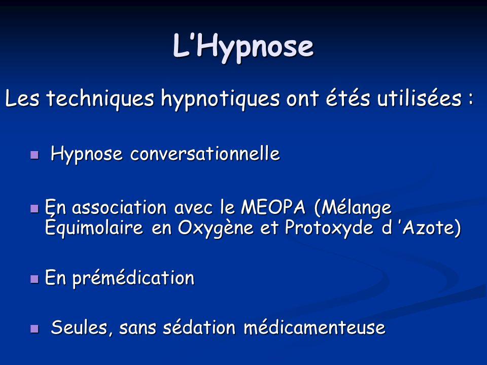 LHypnose Les techniques hypnotiques ont étés utilisées : Hypnose conversationnelle Hypnose conversationnelle En association avec le MEOPA (Mélange Équ