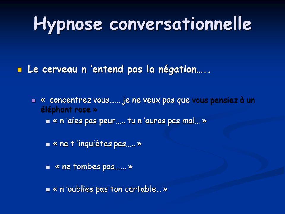 Hypnose conversationnelle Le cerveau n entend pas la négation….. Le cerveau n entend pas la négation….. « concentrez vous…… je ne veux pas que vous pe