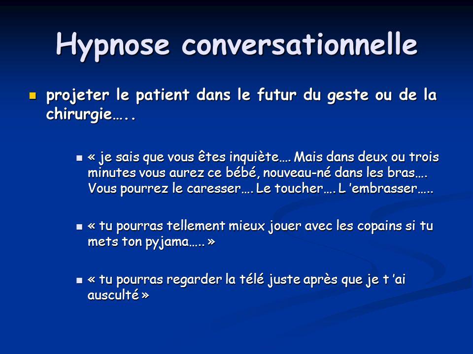 Hypnose conversationnelle projeter le patient dans le futur du geste ou de la chirurgie….. projeter le patient dans le futur du geste ou de la chirurg