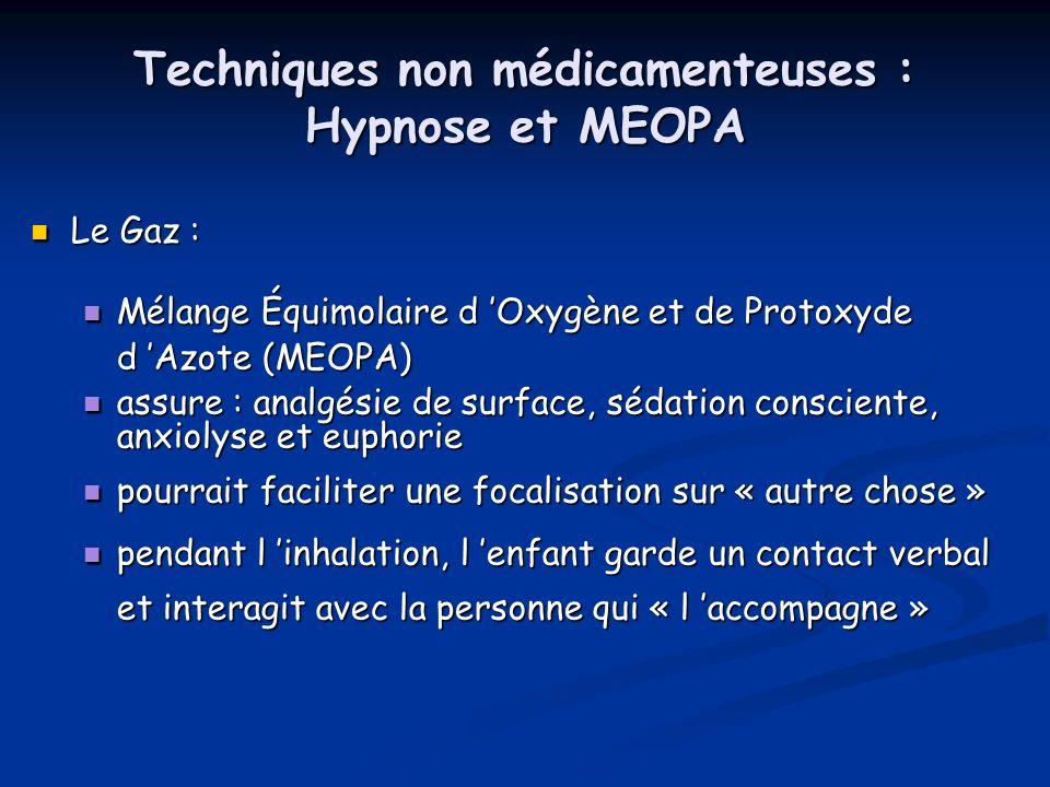 Techniques non médicamenteuses : Hypnose et MEOPA Le Gaz : Le Gaz : Mélange Équimolaire d Oxygène et de Protoxyde d Azote (MEOPA) Mélange Équimolaire