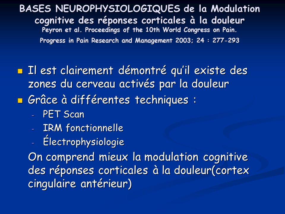 A- Aspect sensori discriminatif de la douleur Différentes zones du cerveau sont activés lors dune stimulation douloureuse (cortex insulaire, zone somato- sensorielle S 2 …) Lillusion de la douleur peut augmenter le flux sanguin cérébral dans certaines zones du cerveau (S2, gyrus cingulaire, insula antérieur) Lillusion de la douleur peut augmenter le flux sanguin cérébral dans certaines zones du cerveau (S2, gyrus cingulaire, insula antérieur) Lattention, la distraction diminuent le vécu de la douleur (intensité et aspect désagréable) ainsi que lactivité de linsula antérieur et du cortex S 2 Lattention, la distraction diminuent le vécu de la douleur (intensité et aspect désagréable) ainsi que lactivité de linsula antérieur et du cortex S 2 Au niveau S 1, lattention augmente lactivité Au niveau S 1, lattention augmente lactivité