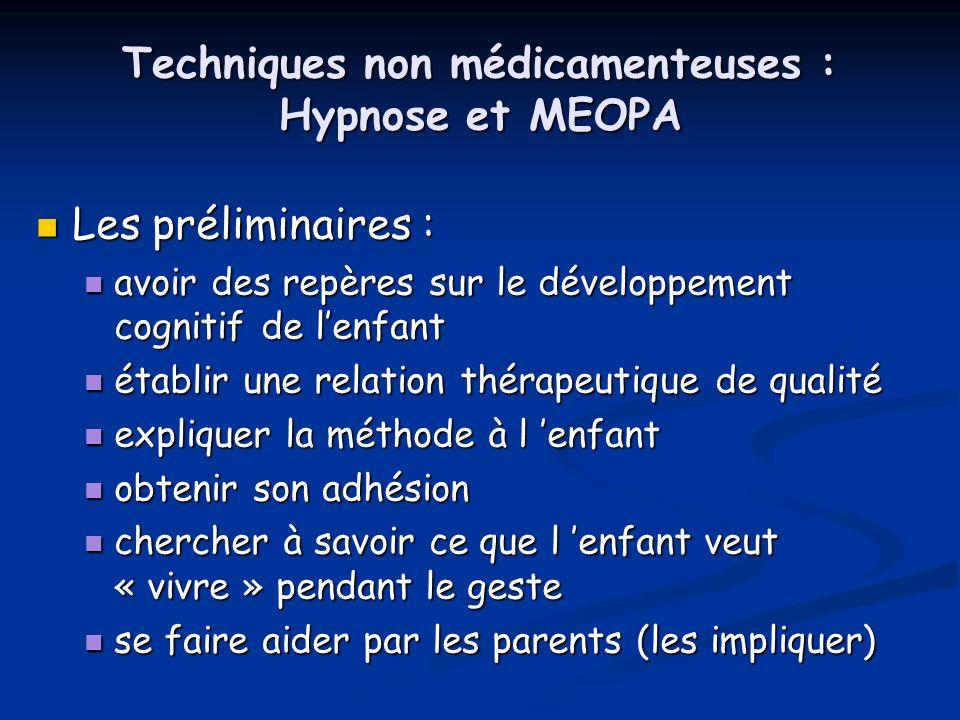 Techniques non médicamenteuses : Hypnose et MEOPA Les préliminaires : Les préliminaires : avoir des repères sur le développement cognitif de lenfant a