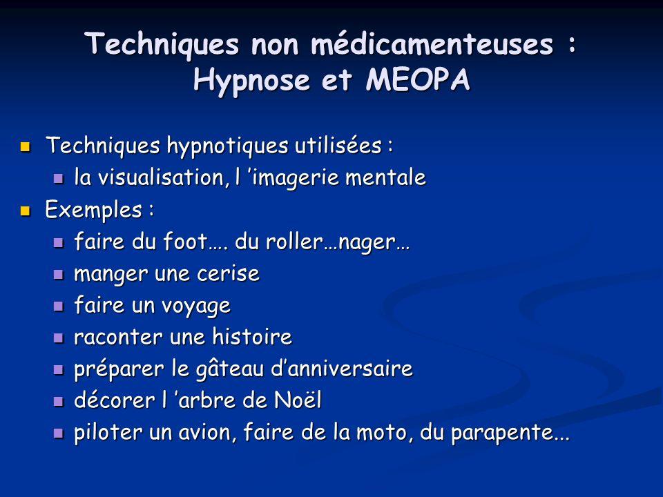 Techniques non médicamenteuses : Hypnose et MEOPA Techniques hypnotiques utilisées : Techniques hypnotiques utilisées : la visualisation, l imagerie m