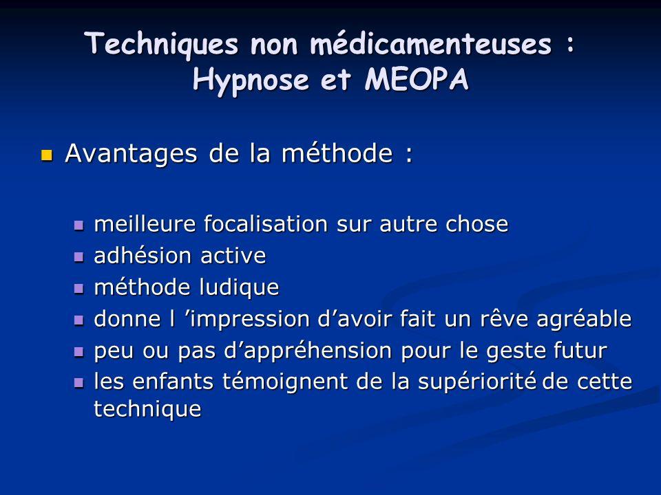 Techniques non médicamenteuses : Hypnose et MEOPA Avantages de la méthode : Avantages de la méthode : meilleure focalisation sur autre chose meilleure