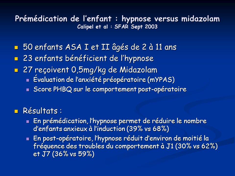 Prémédication de lenfant : hypnose versus midazolam Calipel et al : SFAR Sept 2003 50 enfants ASA I et II âgés de 2 à 11 ans 50 enfants ASA I et II âg