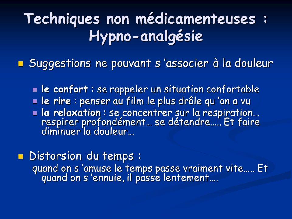 Techniques non médicamenteuses : Hypno-analgésie Suggestions ne pouvant s associer à la douleur Suggestions ne pouvant s associer à la douleur le conf
