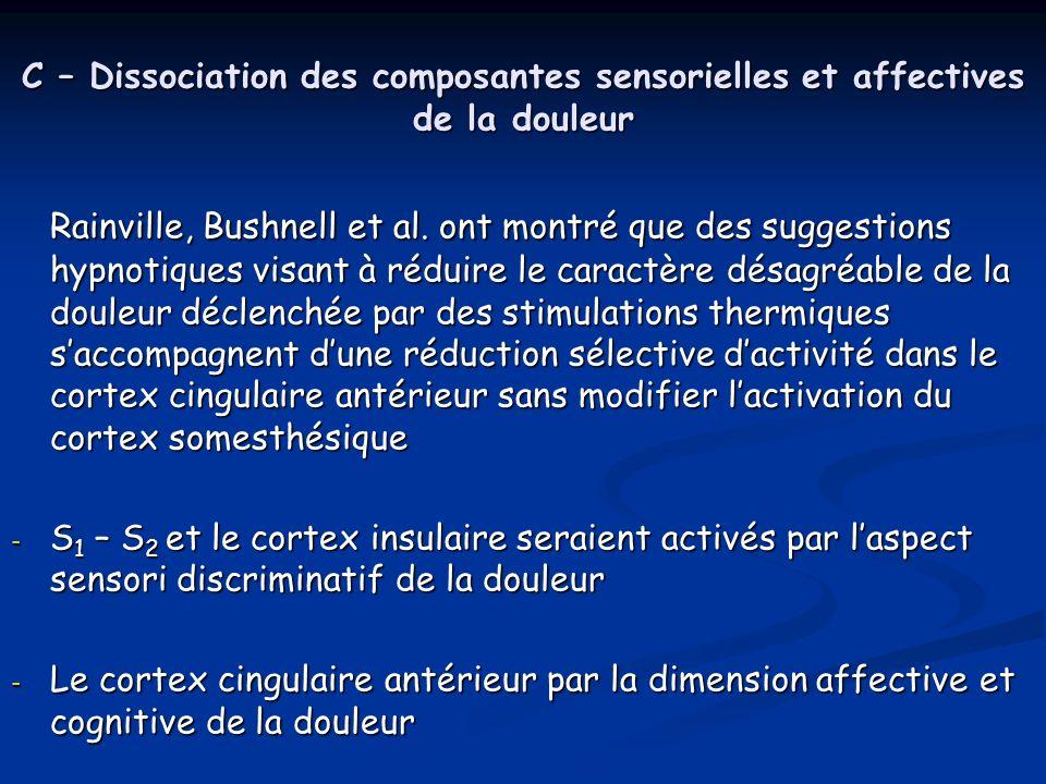 C – Dissociation des composantes sensorielles et affectives de la douleur Rainville, Bushnell et al. ont montré que des suggestions hypnotiques visant