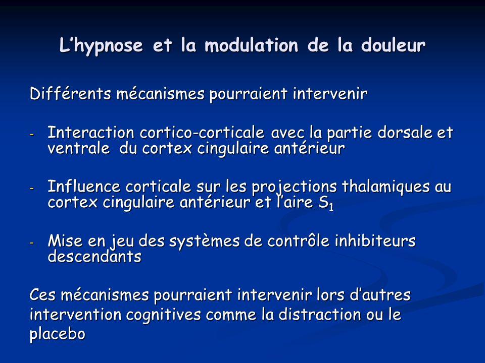 Lhypnose et la modulation de la douleur Différents mécanismes pourraient intervenir - Interaction cortico-corticale avec la partie dorsale et ventrale