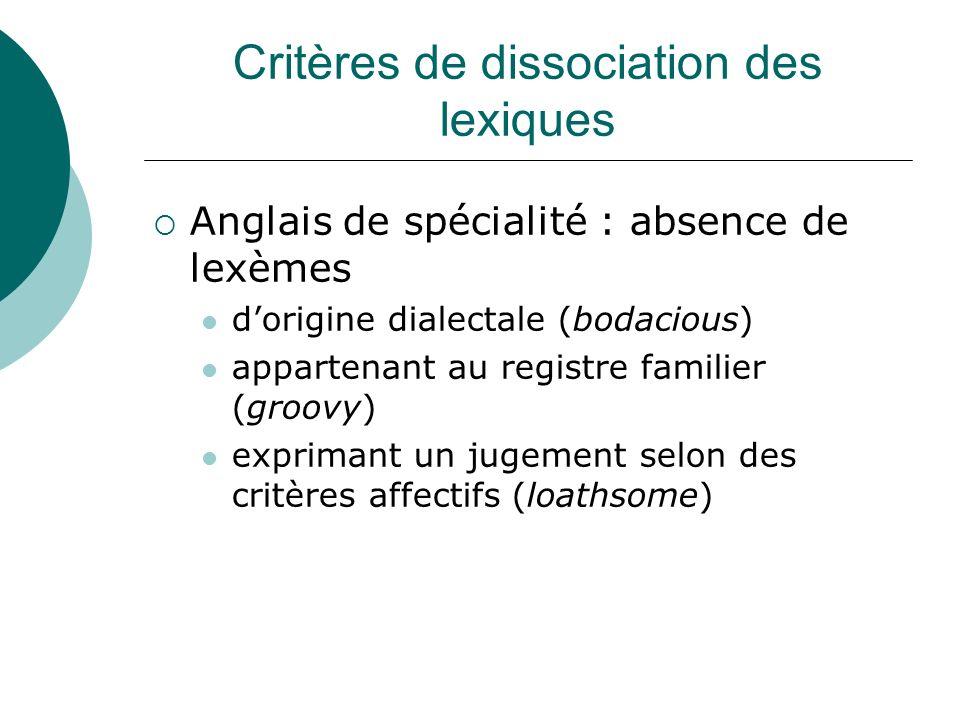 Critères de dissociation des lexiques Anglais de spécialité : absence de lexèmes dorigine dialectale (bodacious) appartenant au registre familier (gro