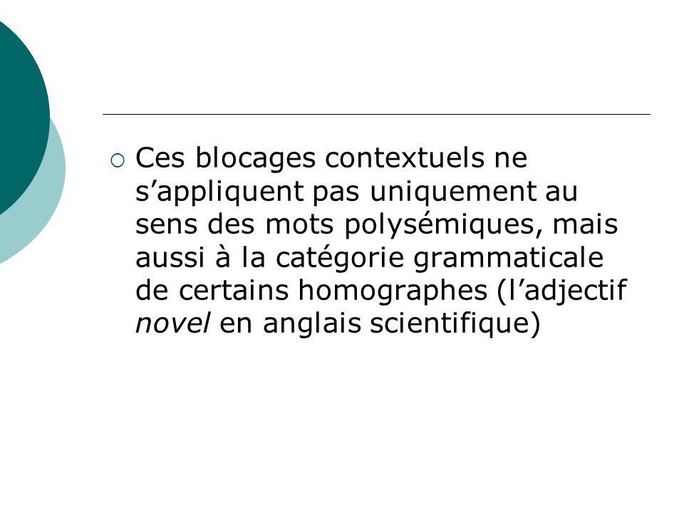 Ces blocages contextuels ne sappliquent pas uniquement au sens des mots polysémiques, mais aussi à la catégorie grammaticale de certains homographes (