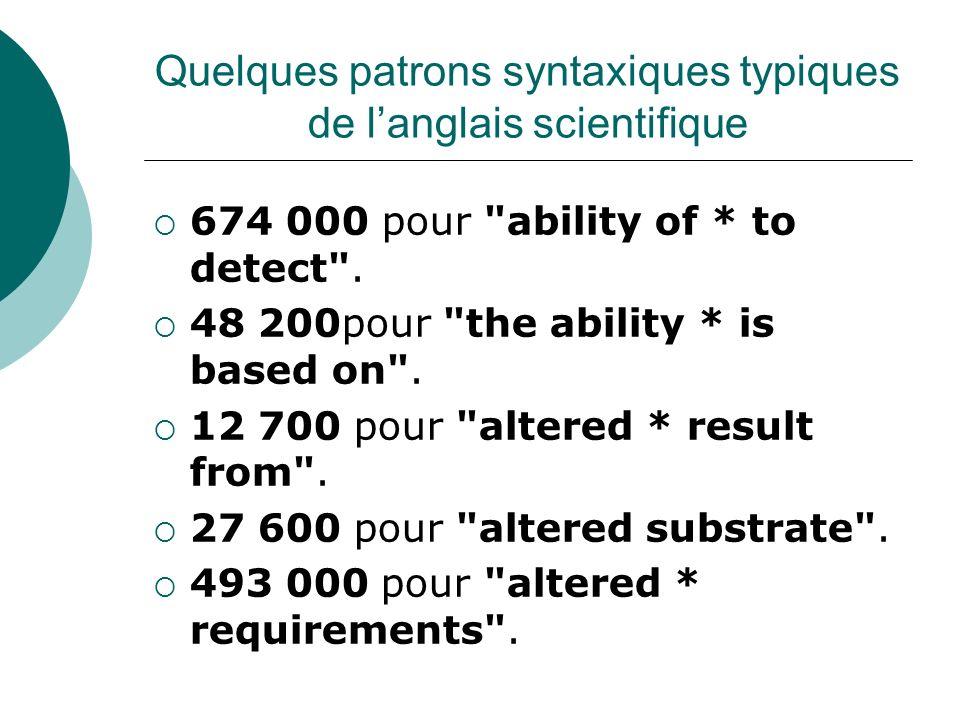 Quelques patrons syntaxiques typiques de langlais scientifique 674 000 pour