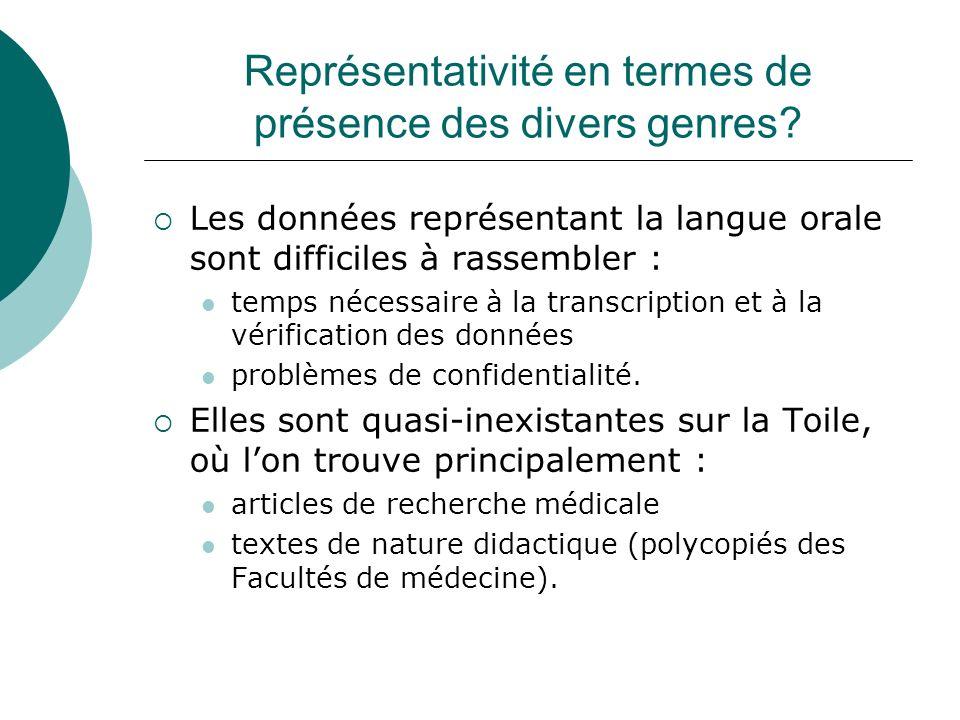 Représentativité en termes de présence des divers genres? Les données représentant la langue orale sont difficiles à rassembler : temps nécessaire à l