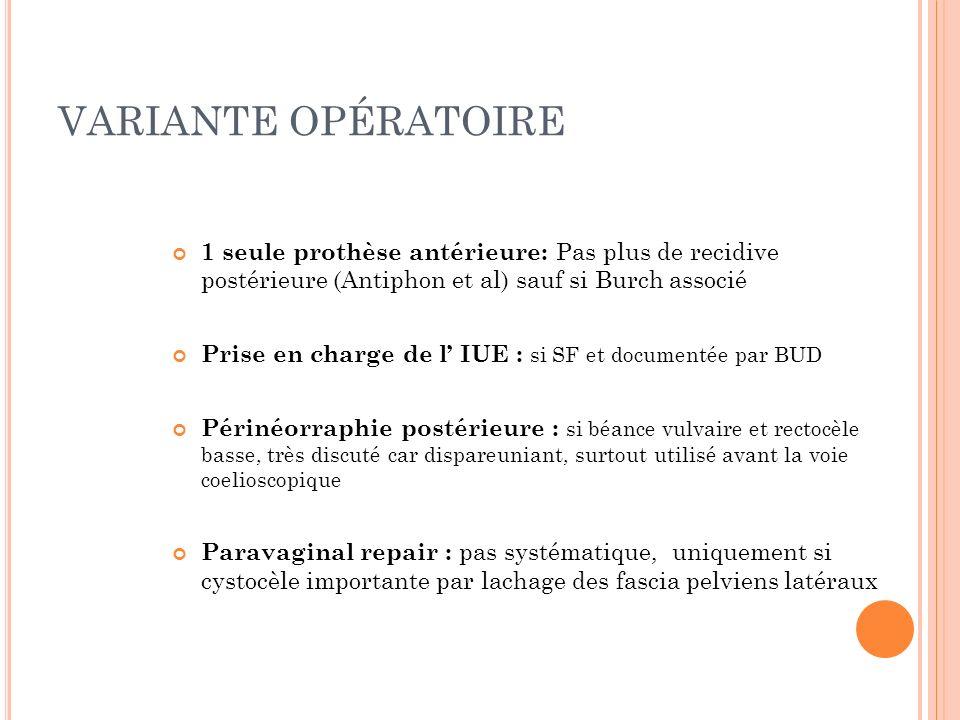 VARIANTE OPÉRATOIRE 1 seule prothèse antérieure: Pas plus de recidive postérieure (Antiphon et al) sauf si Burch associé Prise en charge de l IUE : si