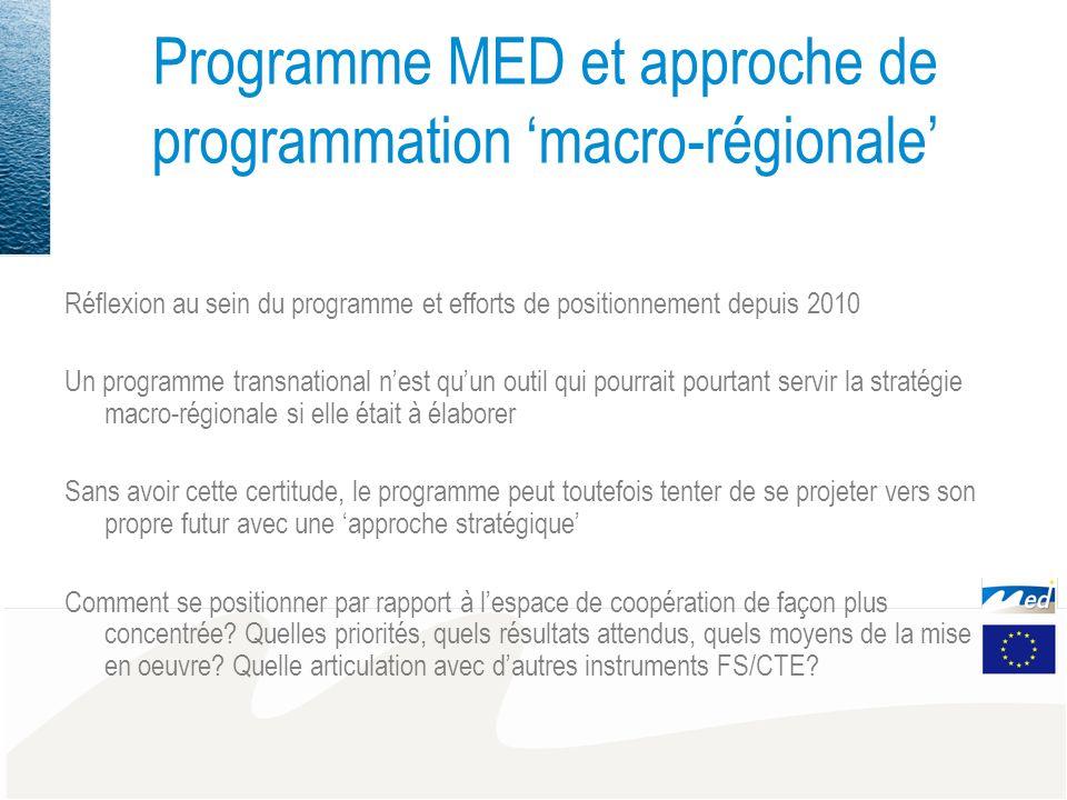 Programme MED et approche de programmation macro-régionale Réflexion au sein du programme et efforts de positionnement depuis 2010 Un programme transn