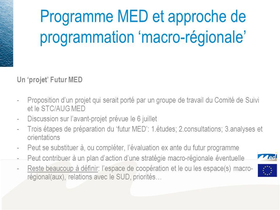Programme MED et approche de programmation macro-régionale Un projet Futur MED -Proposition dun projet qui serait porté par un groupe de travail du Comité de Suivi et le STC/AUG MED -Discussion sur lavant-projet prévue le 6 juillet -Trois étapes de préparation du futur MED: 1.études; 2.consultations; 3.analyses et orientations -Peut se substituer à, ou compléter, lévaluation ex ante du futur programme -Peut contribuer à un plan daction dune stratégie macro-régionale éventuelle -Reste beaucoup à définir: lespace de coopération et le ou les espace(s) macro- régional(aux), relations avec le SUD, priorités…