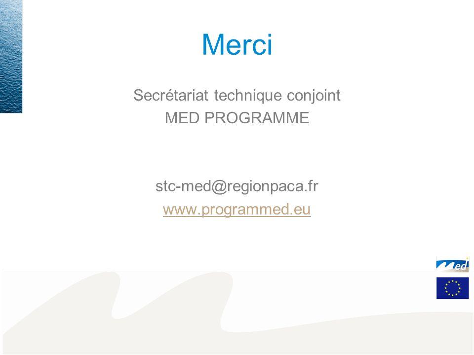Merci Secrétariat technique conjoint MED PROGRAMME stc-med@regionpaca.fr www.programmed.eu