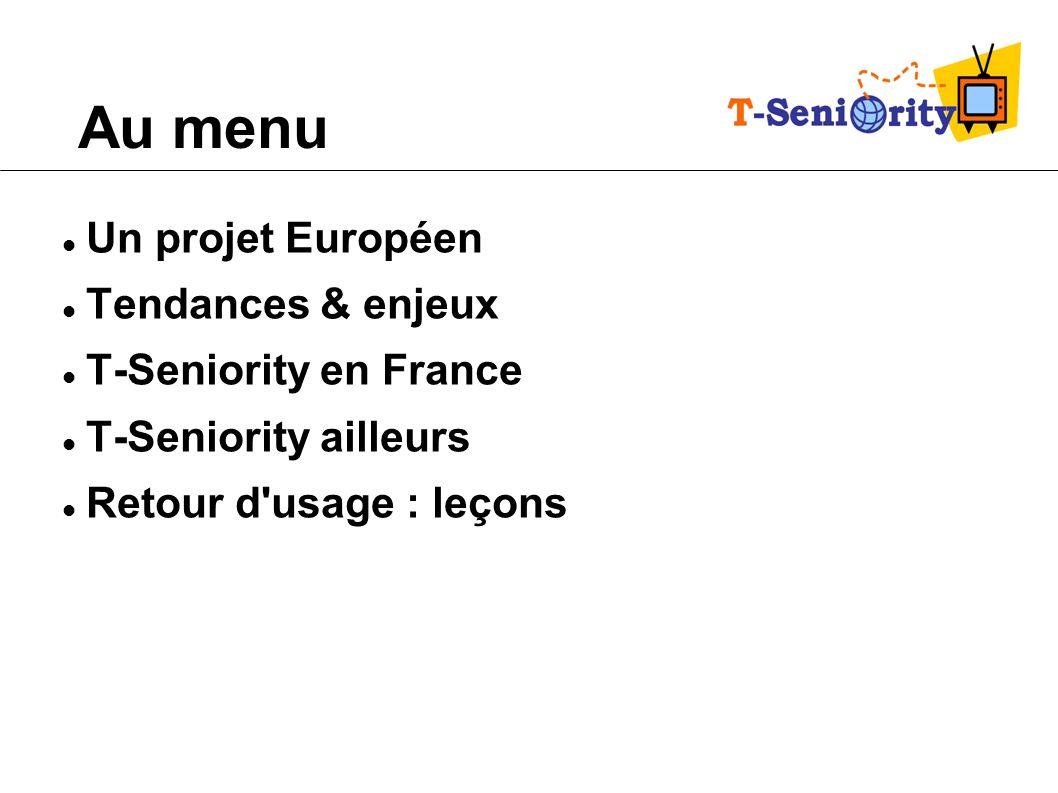 Un projet Européen Appel à projets CIP 2007 : « étendre les bénéfices de la société de l information aux personnes âgées via la télévision numérique » Technologie & coordinateur = IDI Eikon (Espagne) Un consortium de 7 pays Dirigé en France par la FNAQPA – Pilote de la partie Française – Responsable de la partie « pérennité économique » pour l ensemble du consortium Soutenue par la CNSA Octobre 08 Décembre 2010