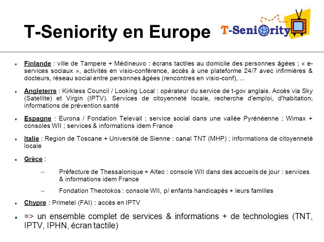 T-Seniority en Europe Finlande : ville de Tampere + Médineuvo : écrans tactiles au domicile des personnes âgées ; « e- services sociaux », activités e
