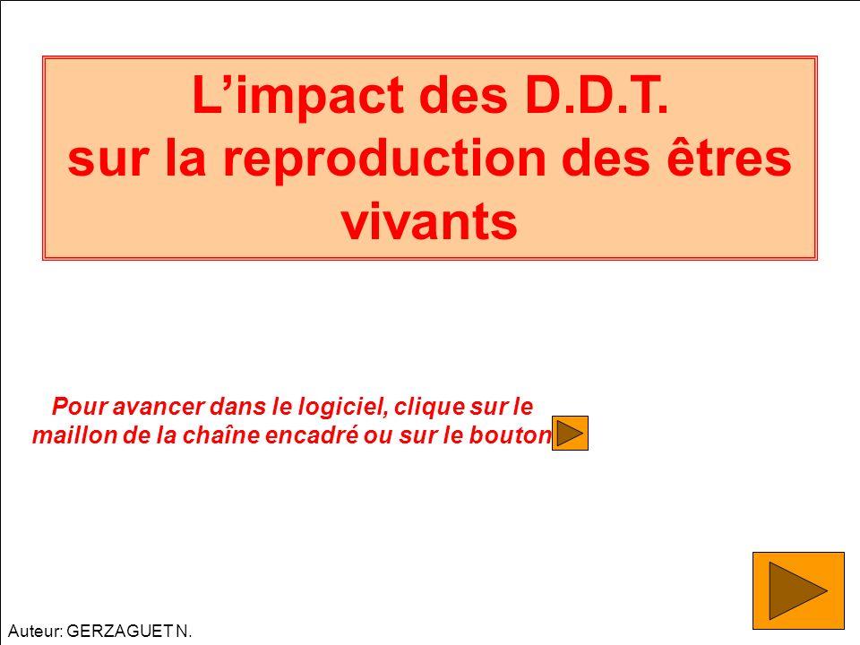 Limpact des D.D.T. sur la reproduction des êtres vivants Pour avancer dans le logiciel, clique sur le maillon de la chaîne encadré ou sur le bouton Au