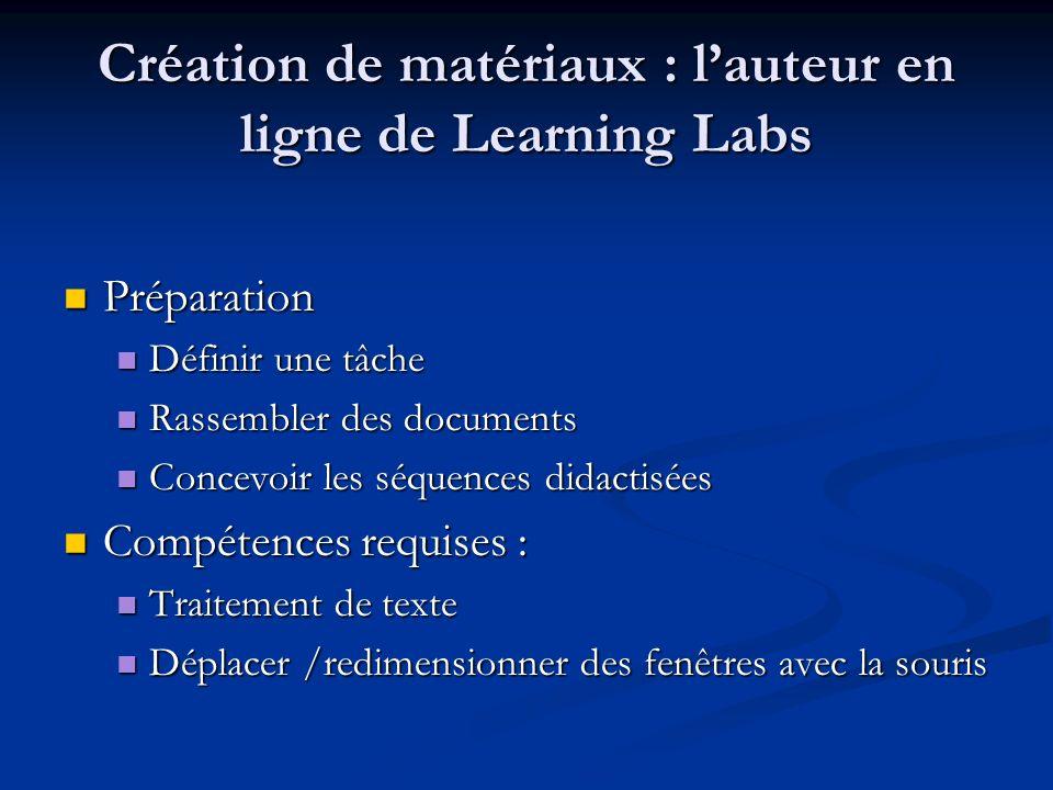 Création de matériaux : lauteur en ligne de Learning Labs Préparation Préparation Définir une tâche Définir une tâche Rassembler des documents Rassemb