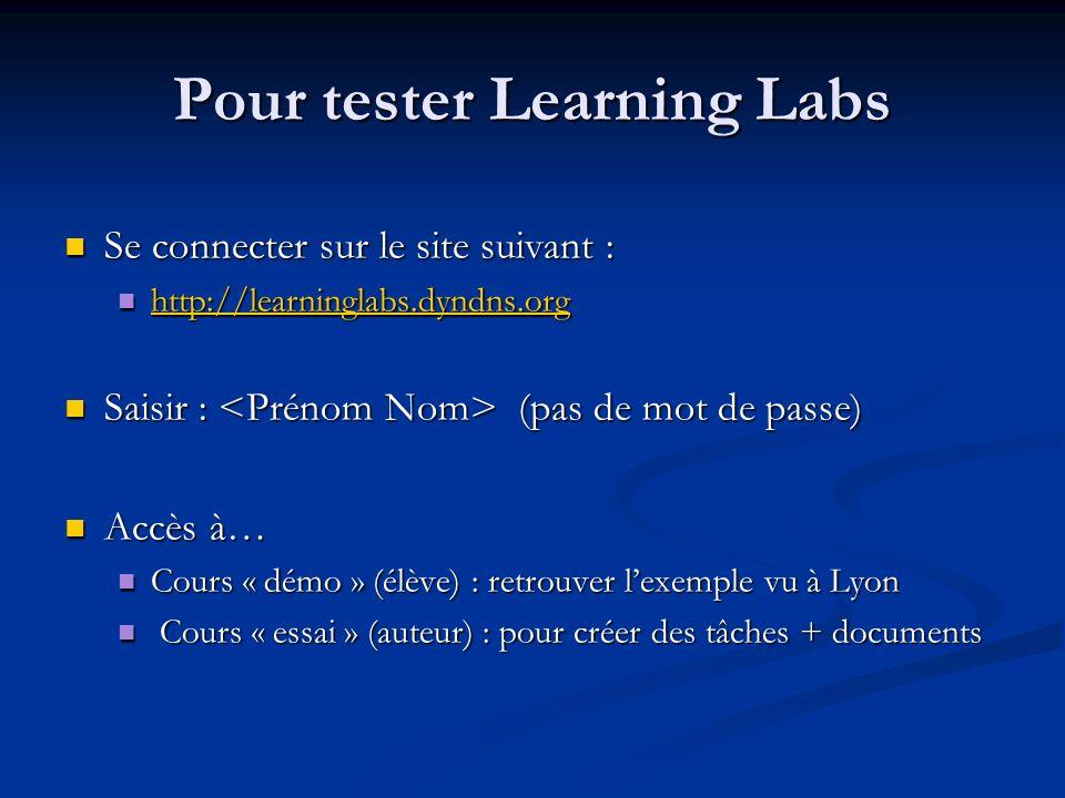 Pour tester Learning Labs Se connecter sur le site suivant : Se connecter sur le site suivant : http://learninglabs.dyndns.org http://learninglabs.dyn