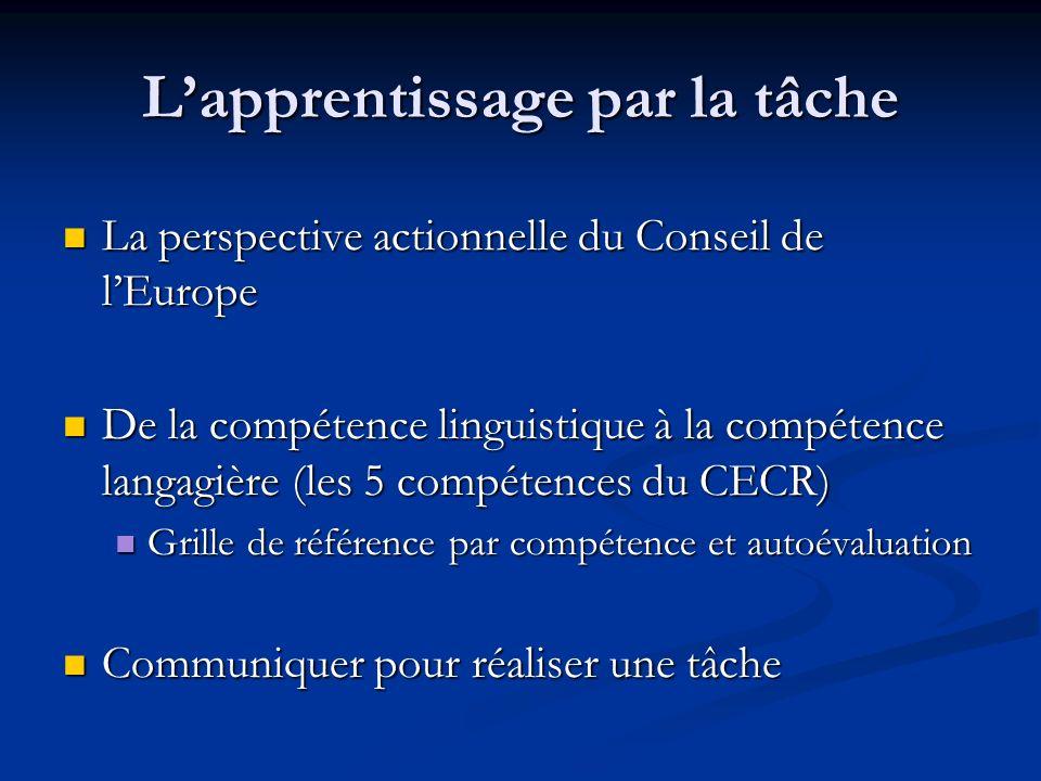 Lapprentissage par la tâche La perspective actionnelle du Conseil de lEurope La perspective actionnelle du Conseil de lEurope De la compétence linguis