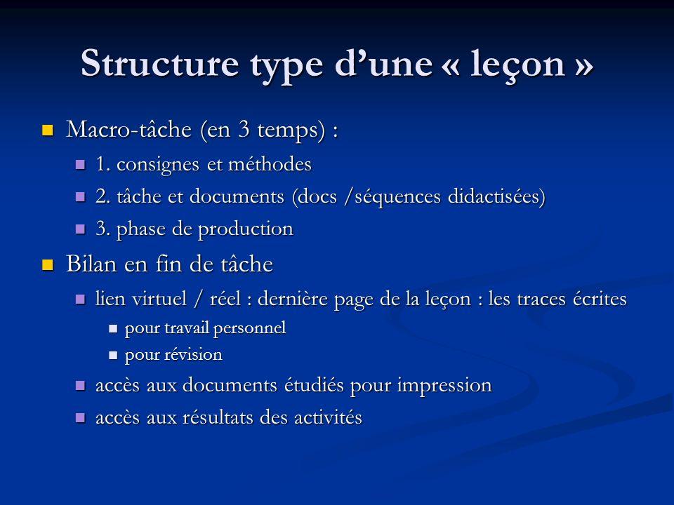 Structure type dune « leçon » Macro-tâche (en 3 temps) : Macro-tâche (en 3 temps) : 1. consignes et méthodes 1. consignes et méthodes 2. tâche et docu