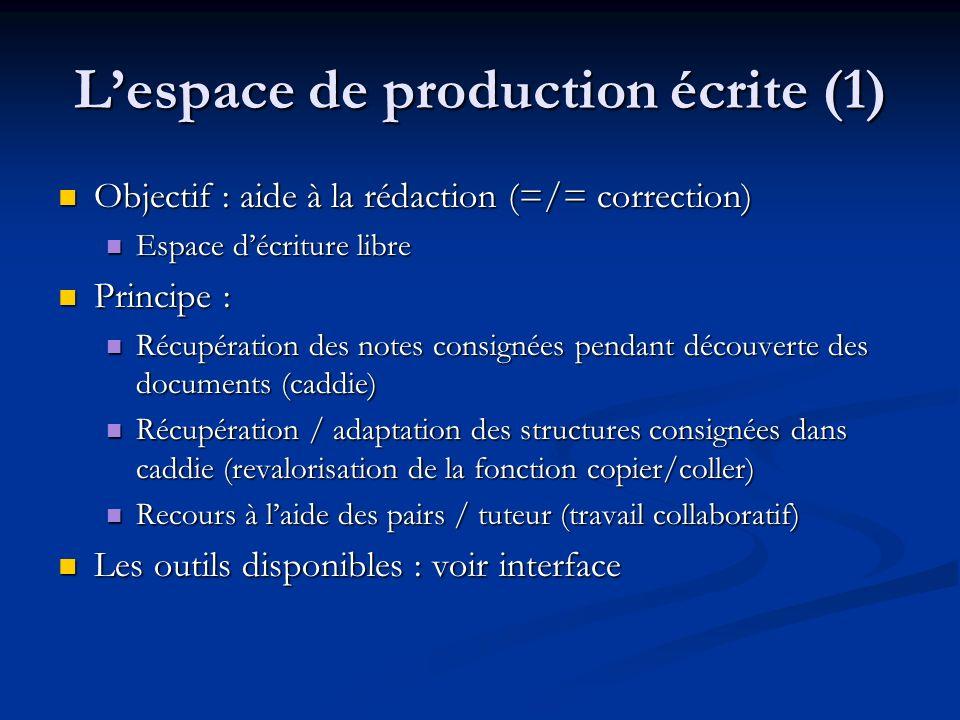 Lespace de production écrite (1) Objectif : aide à la rédaction (=/= correction) Objectif : aide à la rédaction (=/= correction) Espace décriture libr